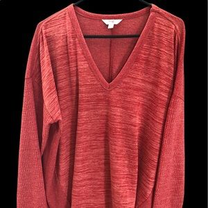 Women's Time and Tru Merled Red/Orange Pullover